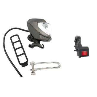 Pack lampe avant pour vélo électrique et interrupteur