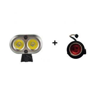 Pack lampe à Led 2200 Lumens avec batterie SAMSUNG Li-ion 8.4V 5.2Ah pour vélos avec lampe arrière 150 lumens